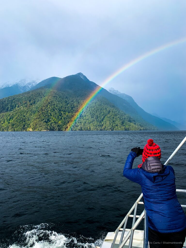 catching a rainbow in New Zealand